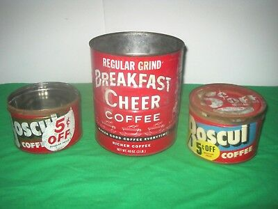 Vintage Lot. 3 Coffee Cans Tins. 3 Lb. Breakfast Cheer & 2 Small Boscul Cans.