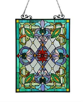 "Stained Glass Chloe Lighting Victorian Window Panel 18 X 25"" Handcrafted New"