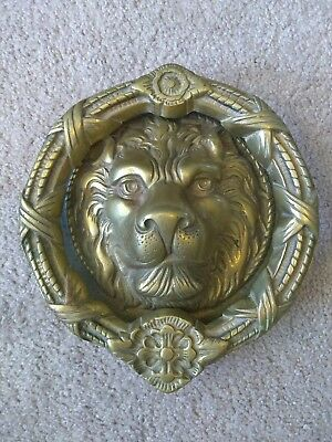 "Lion Head Old Door Knocker Large 7.5"" Brass Eastlake Antique Vintage Hardware"