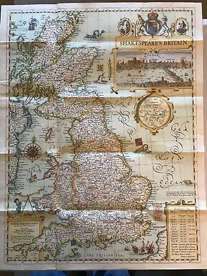 1964 National Geographic Society Large Map - Shakespeare's Britain