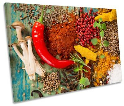Spices Herbs Chilli Kitchen Café Framed SINGLE CANVAS PRINT Wall Art
