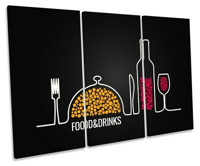Food Drinks Café Kitchen Framed TREBLE CANVAS PRINT Wall Art