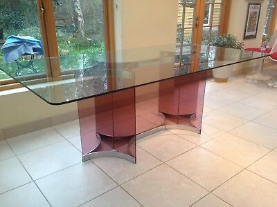 Original Alessandro Albrizzi Lucite and Chrome Glass Top Dining Table Circa 1960