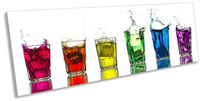 Rainbow Shot Glasses Kitchen Framed PANORAMA CANVAS PRINT Wall Art