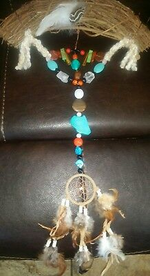 Native American Indian Harmony Bow Flax Bow With Healing Stones Dream Catcher
