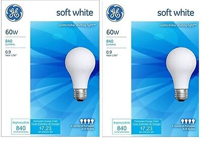 8 Pack GE 60 Watt Soft White Incandescent Light Bulbs -41028-