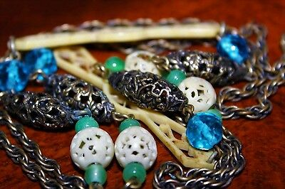 Antique Art Deco Brass Ornate Openwork Carved Early Plastic Long Necklace NC6