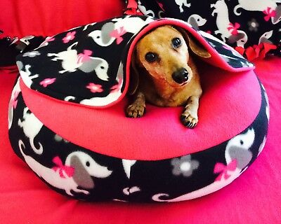 NEW Dachshund Small Dog Bed Snuggle Bed for Burrowing Dog Fun Pink Doxie Fleece