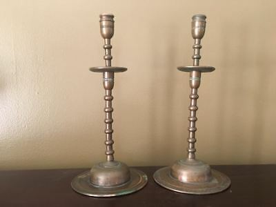 Pair of Bronze Ottoman or Persian Candlesticks & Large Islamic Bowl
