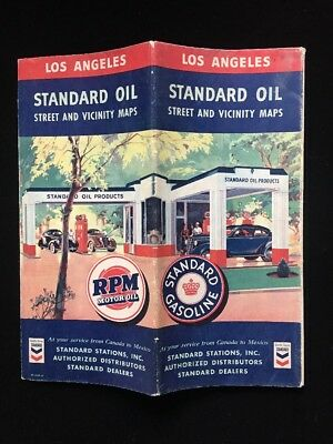 Vintage 1941 Standard Oil Street And Vicinity Map Of Los Angeles, California
