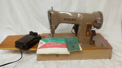 Heavy Duty Electric Singer 185K Sewing Machine + Case & Foot Pedal & Manuals