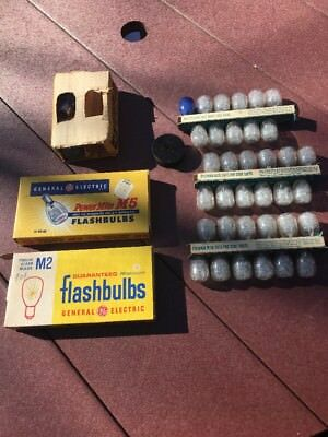 Vintage Lot of 56 Camera Flash Bulbs from Sylvania and General Electric M2 & M5