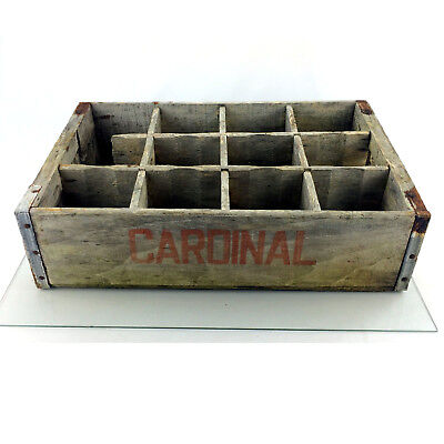Vintage Cardinal Wood Crate Soda Pop 1960s Wooden Box 12 Slot