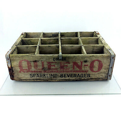 Vintage Queen O Wood Crate Soda Pop 1961 Wooden Advertising Box Buffalo NY