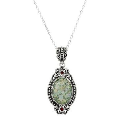 Amazing Ethnic Jewelry Design Sterling Silver Pendant With Ancient Roman Glass