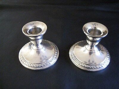 "Beautiful Pair Of Sterling Silver Weighted Candle Holders 2 1/4"" Tall"