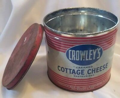 Vintage Crowley's Cottage  Cheese Can/Tin