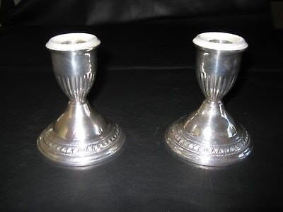 "BEAUTIFUL PAIR OF STERLING SILVER WEIGHTED CANDLE HOLDERS 4"" TALL Use or scrap"