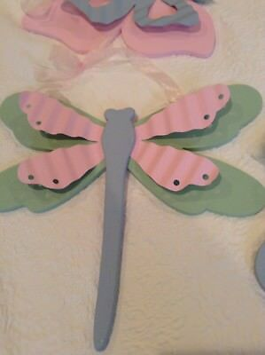 Wooden and Metal Wall Decor Nursery Little Girl Dragonfly Butterfly Hand Painted