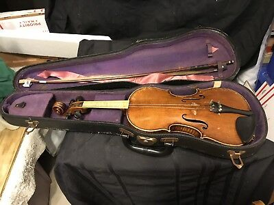 Estate Found Vintage Violin, Bow, And Case For Parts Or Repair