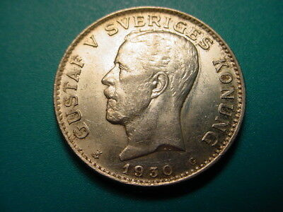 Sweden~ Silver 1930-G 1-Krona in Nice Uncirculated Condition!