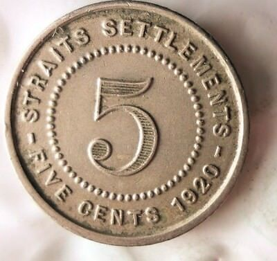 1920 STRAITS SETTLEMENTS 5 CENTS - VERY RARE TYPE - Great Coin - Lot #M18