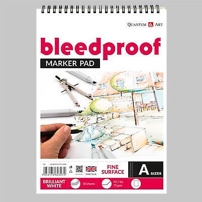 Bleedproof Sketching Drawing Marker Paper Pad - on Spiral - 75gsm - 50 sheets