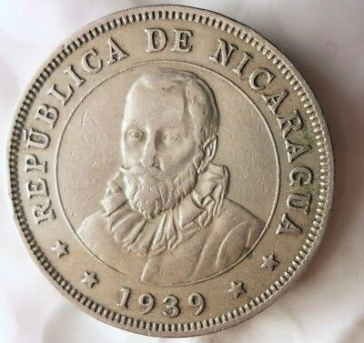 1939 NICARAGUA 50 CENTAVOS - HIGH QUALITY - Scarce Low Mintage Coin - Lot #M18