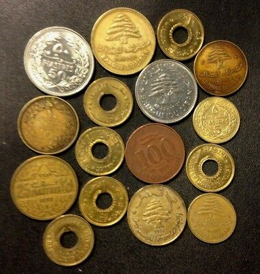 OLD Lebanon Coin Lot - 1955-PRESENT - 16 Uncommon Older Coins - Lot #M18