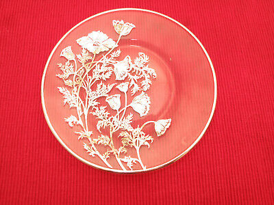 Antique Sterling Silver Overlay Ornate Art Nouveau Floral Plate Dish Tray