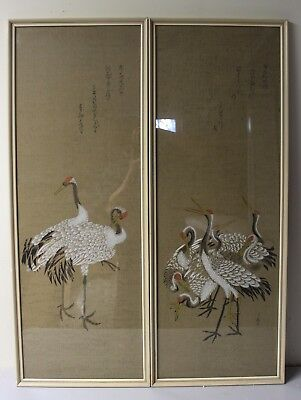 Pair Of Vintage Japanese Hand Painting On Paper