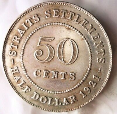 1921 STRAITS SETTLEMENTS 50 CENTS - VERY RARE TYPE - Great Silver Coin -Lot #M18