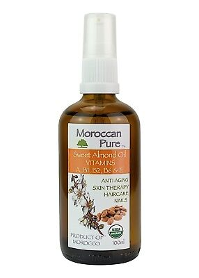 Moroccan Pure Sweet Almond Oil Organic Vitamins A B1 B2 B6 AND E For Nails 100ml