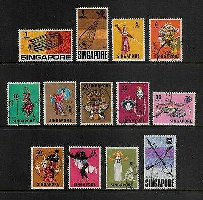 SINGAPORE 1968 Issue, Dancers, Musical Instruments, incomplete set to $2, used