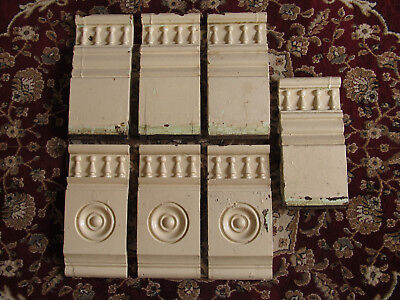 7 Antique Door / Window Wood Plinth Moulding Blocks - Architectural Salvage !!!