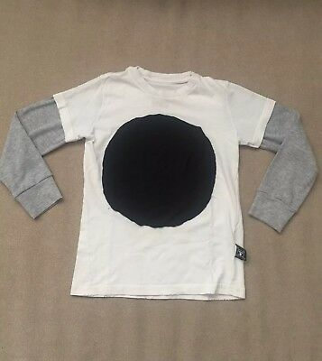 Nununu World Baby Boy Layered Sleeve Big Circle Patch T-shirt In White 4T-5T