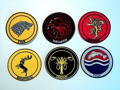 1x Game of Thrones House Sigils Stark Patches Embroider Cloth Badge Iron Sew On
