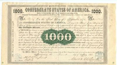 1861   Confederate Bond     $1000  first year of issue. 7071 issued.