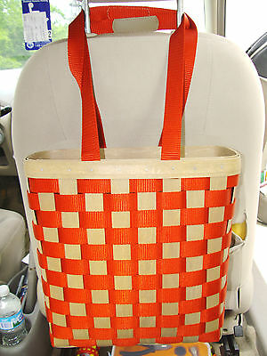 RED Tall Tote w Nylon Straps Longaberger Purse Shopper Basket Tote TO GO new