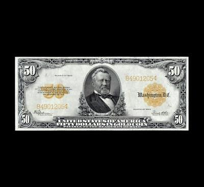 """Stunning 1922 $50 Gold Certificate """"grant"""" Extra Fine Condition"""