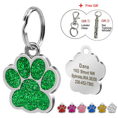 Glitter Personalized Dog Tags Free Engraved Puppy Kitten Name ID Custom Whistle