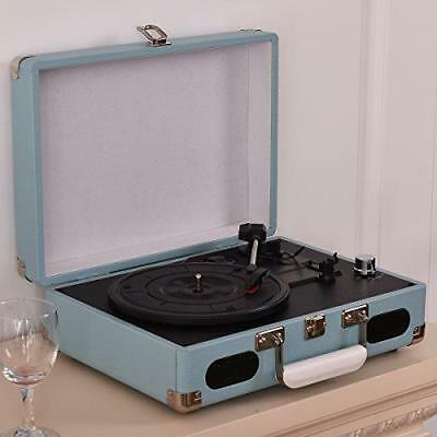 3 Speed Vinyl Record Player Retro Turntable Portable Deck Auto Stop Speakers NEW
