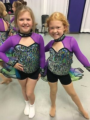 EUC Girls Weissman Sequence Dance Cosume Pom Hip Hop Jazz Solo Size Large Child