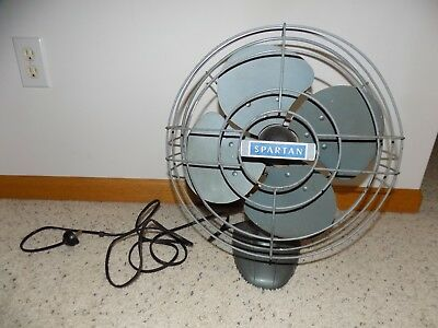 Vintage Spartan Electric 12 Inch 3 Speed Oscillating Metal Fan