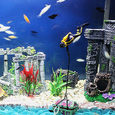 1*Aquarium Fish Tank Ornament Box Treasure Hunter Chest Diver Landscape Decor AU