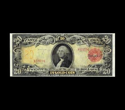 """Elusive 1905 $20 Gold Certificate """"technicolor"""" Strong Very Fine Condition."""
