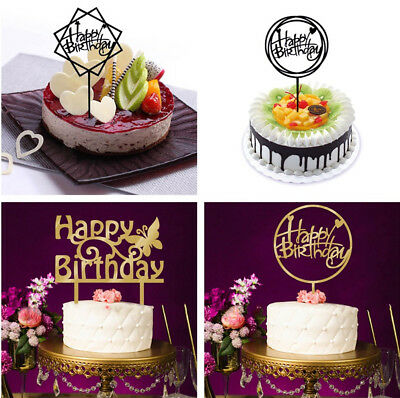 New Happy Birthday Cake Topper Insert Card Acrylic Cake Decoration