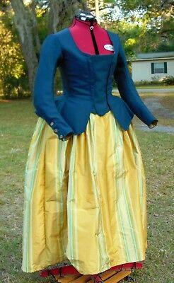18th Century Casaquin Jacket & Petticoat. 100% wool and Silk. Hand Stitched.