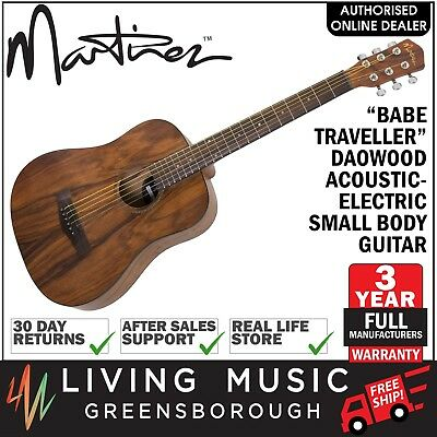 NEW Martinez Babe Traveller Daowood Mini Acoustic-Electric Travel Guitar (Satin)