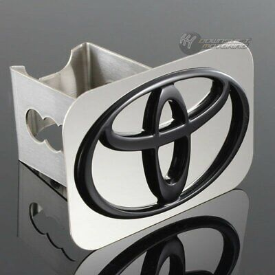 """TOYOTA Black Logo Stainless Hitch Cover Plug Cap For 2"""" Trailer Tow Receiver"""